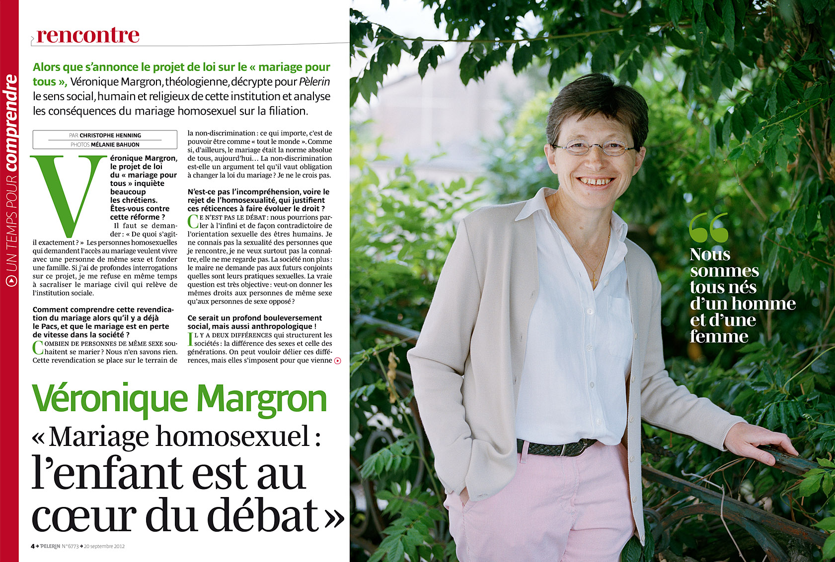 Véronique Margron, Pèlerin du 20 septembre 2012.
