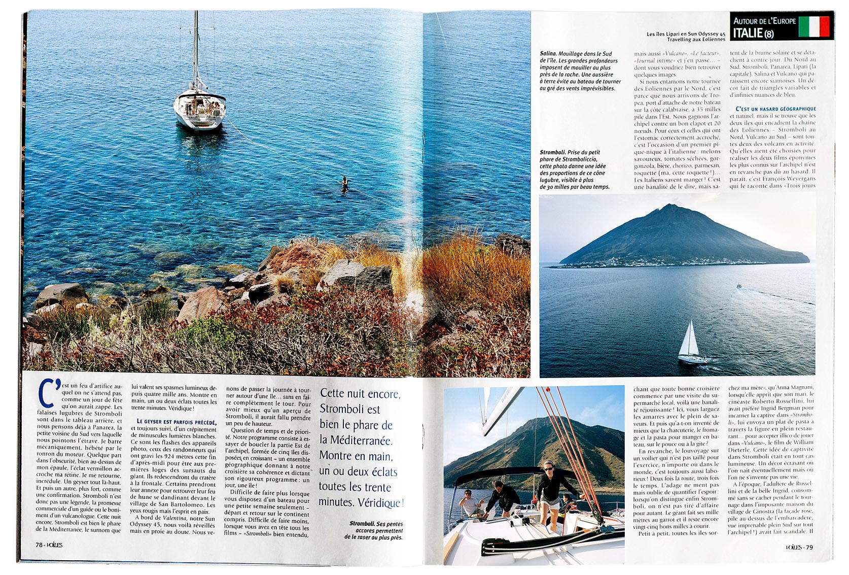 Croisière aux îles Eoliennes, Voiles et Voiliers