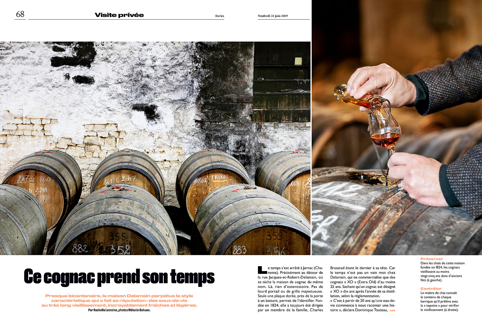 Le Parisien Week-end du 21 juin 2019. Visite privée de la maison de cognac Delamain. Article Rachelle Lemoine.