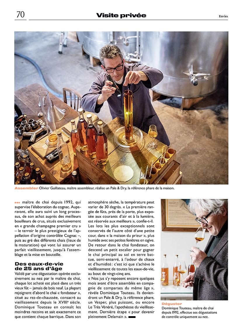 Le Parisien Week-end du 21 juin. Visite privée de la maison de cognac Delamain. Article Rachelle Lemoine.