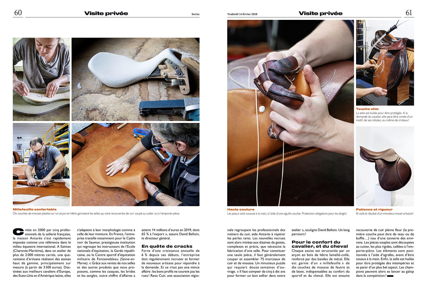 Le Parisien Week-end du 14 février Visite privée de la sellerie Antarès. Article Hélène Brunet-Rivaillon.