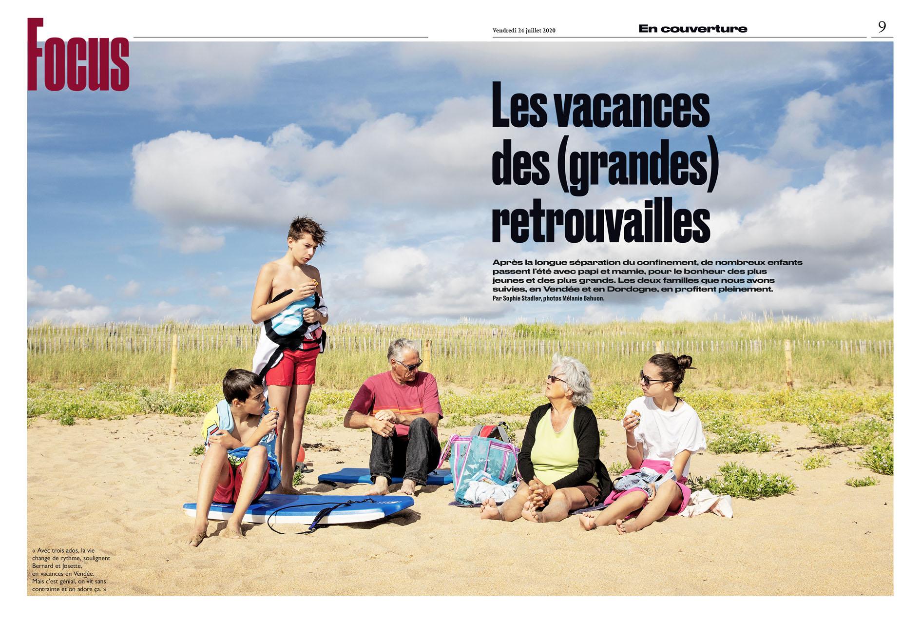 Les vacances des (grandes) retrouvailles, article de Sophie Stadler pour Le Parisien Weekend du 24 juillet 2020