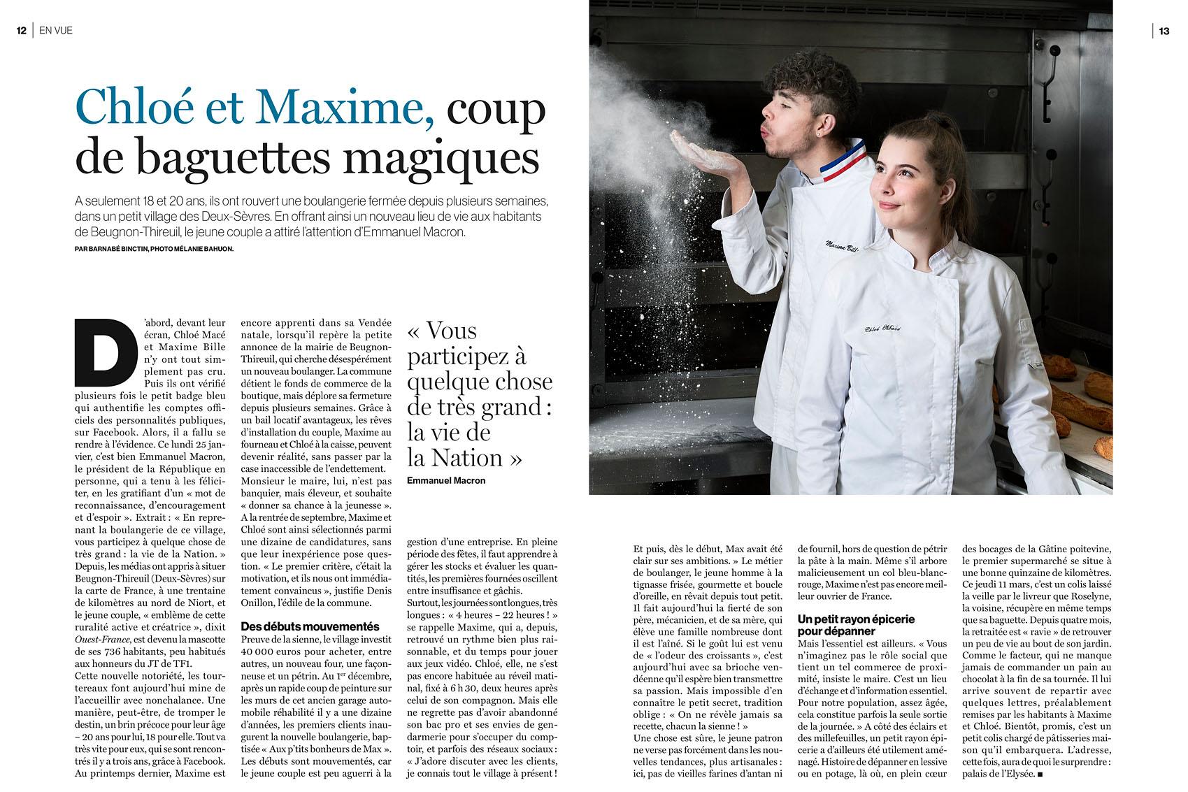 Chloé et Maxime à Beugnon-Thireuil dans les Deux-Sèvres pour Le Parisien Week-End du 19 mars 2021.