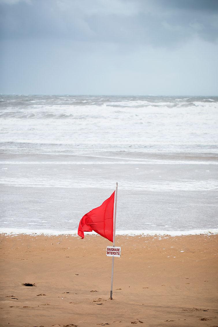 Les Sables d'Olonne, le 7 juin 2019. La plage de Tanchet lors de la tempête Miguel.