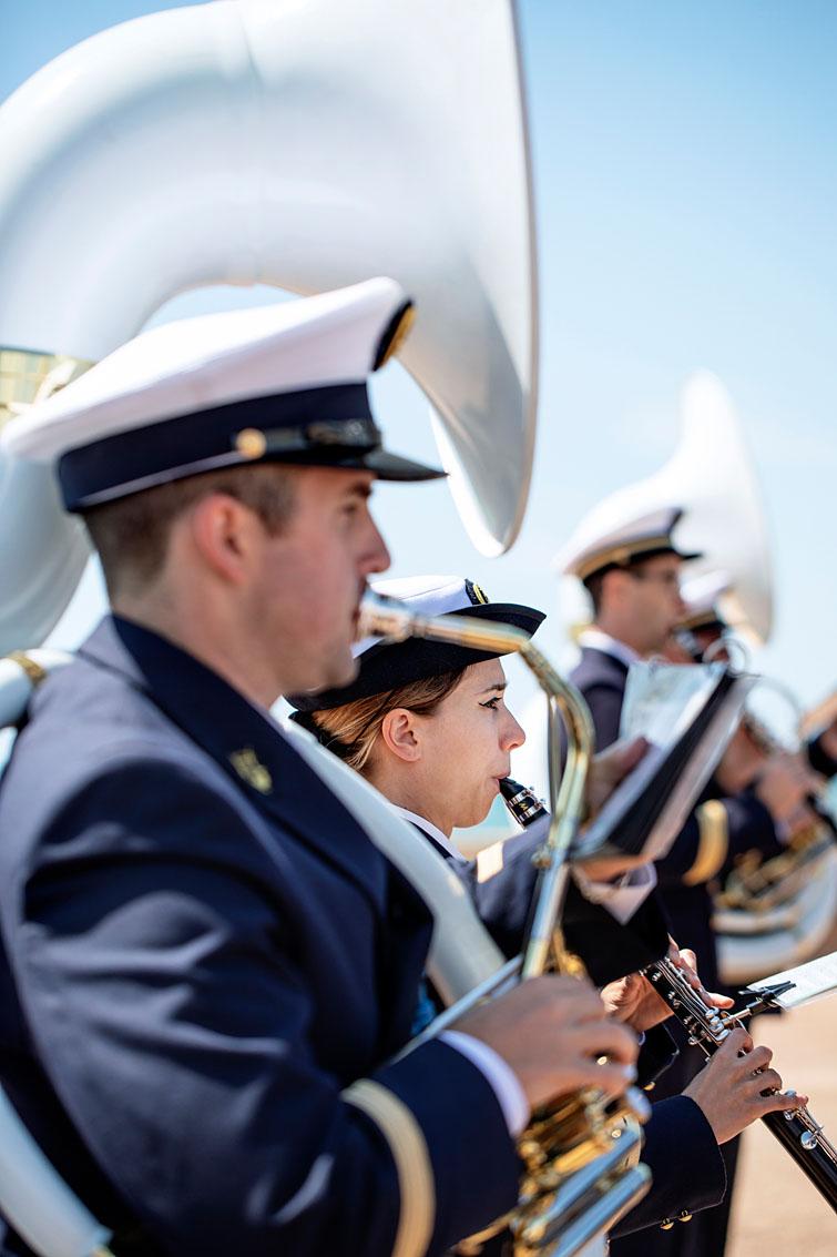 Les Sables d'Olonne, le 13 juin 2019. Hommage national aux sauveteurs du canot Jack Morisseau. La Musique des Equipages de la Flotte.