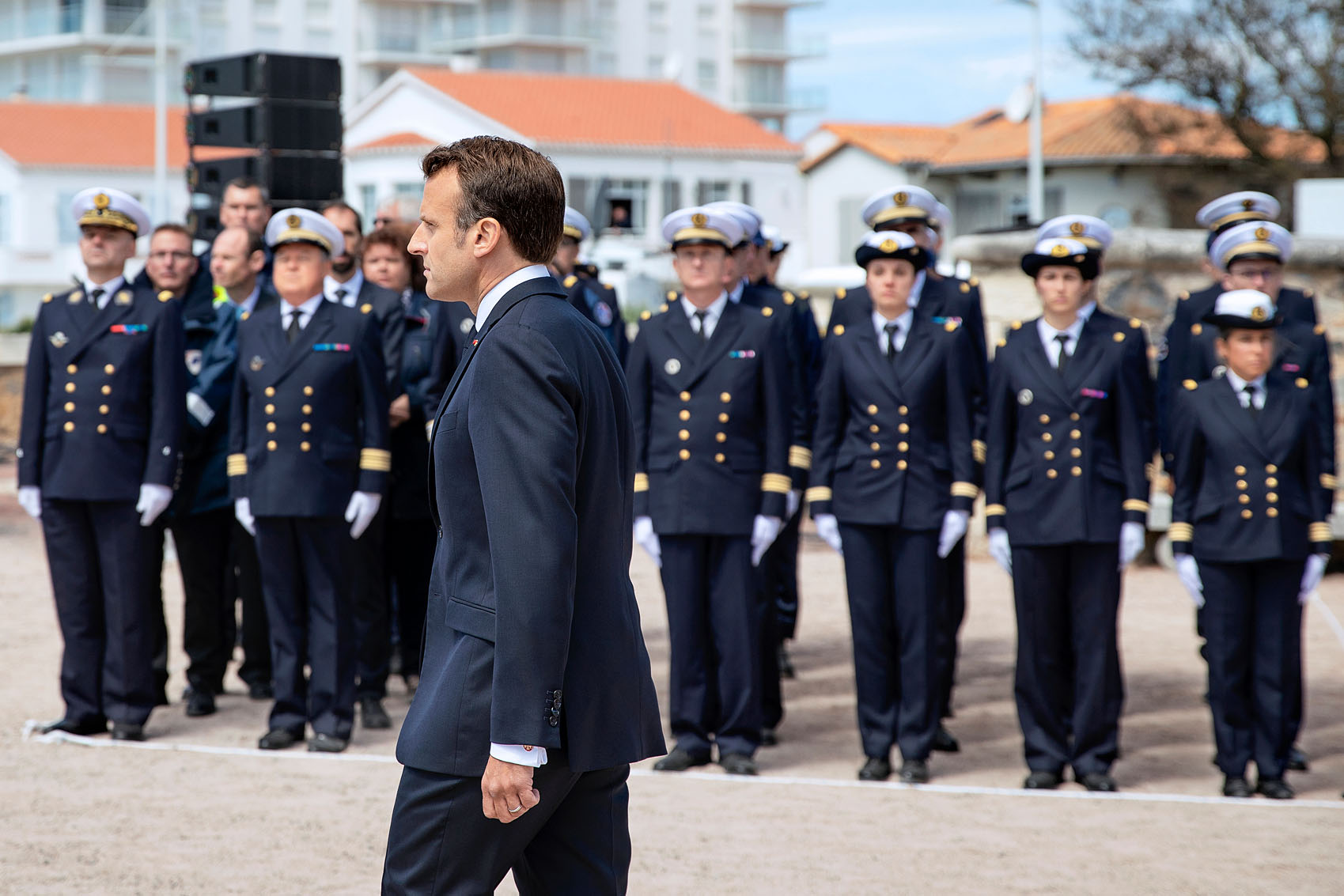 Les Sables d'Olonne, le 13 juin 2019. Hommage national aux sauveteurs du canot Jack Morisseau. Cérémonie présidée par Emmanuel Macron