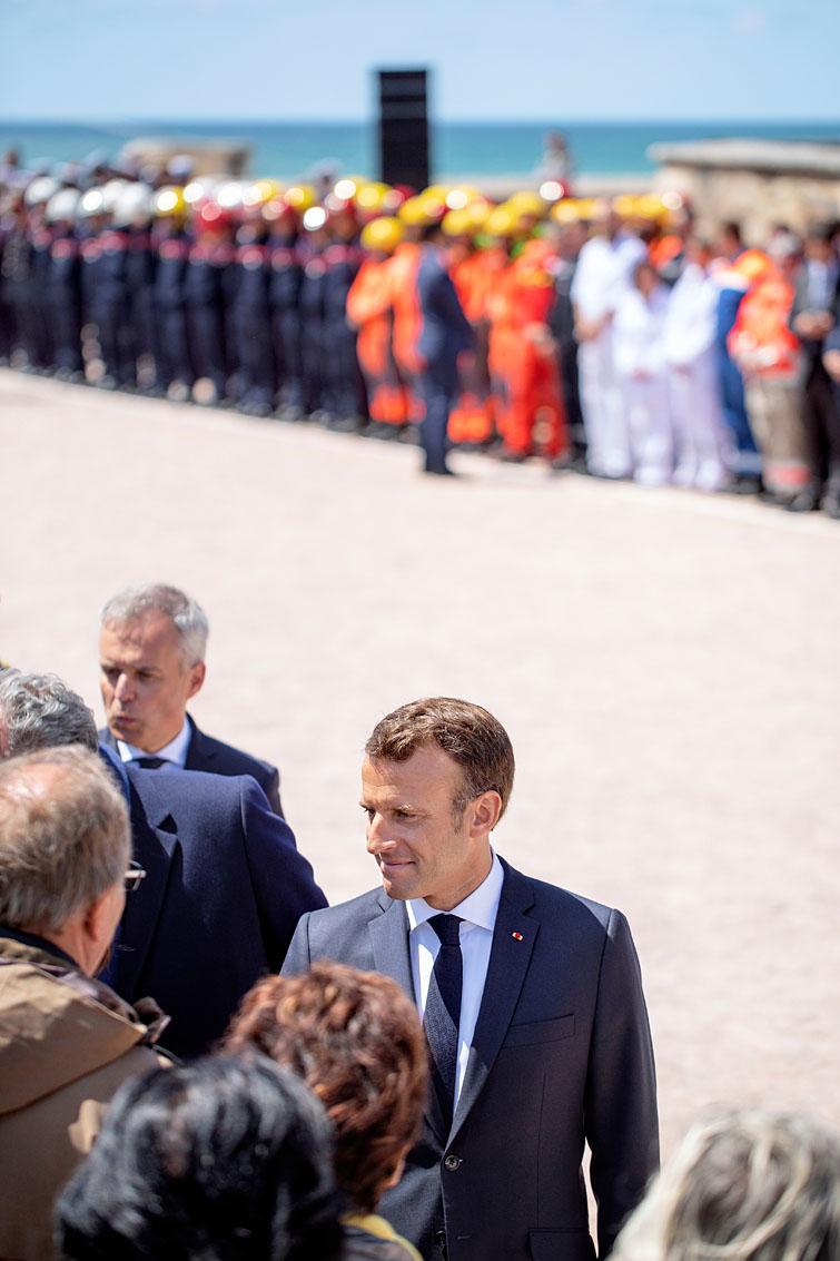 Les Sables d'Olonne, le 13 juin 2019. Hommage national aux sauveteurs du canot Jack Morisseau. Cérémonie présidée par Emmanuel Macron.