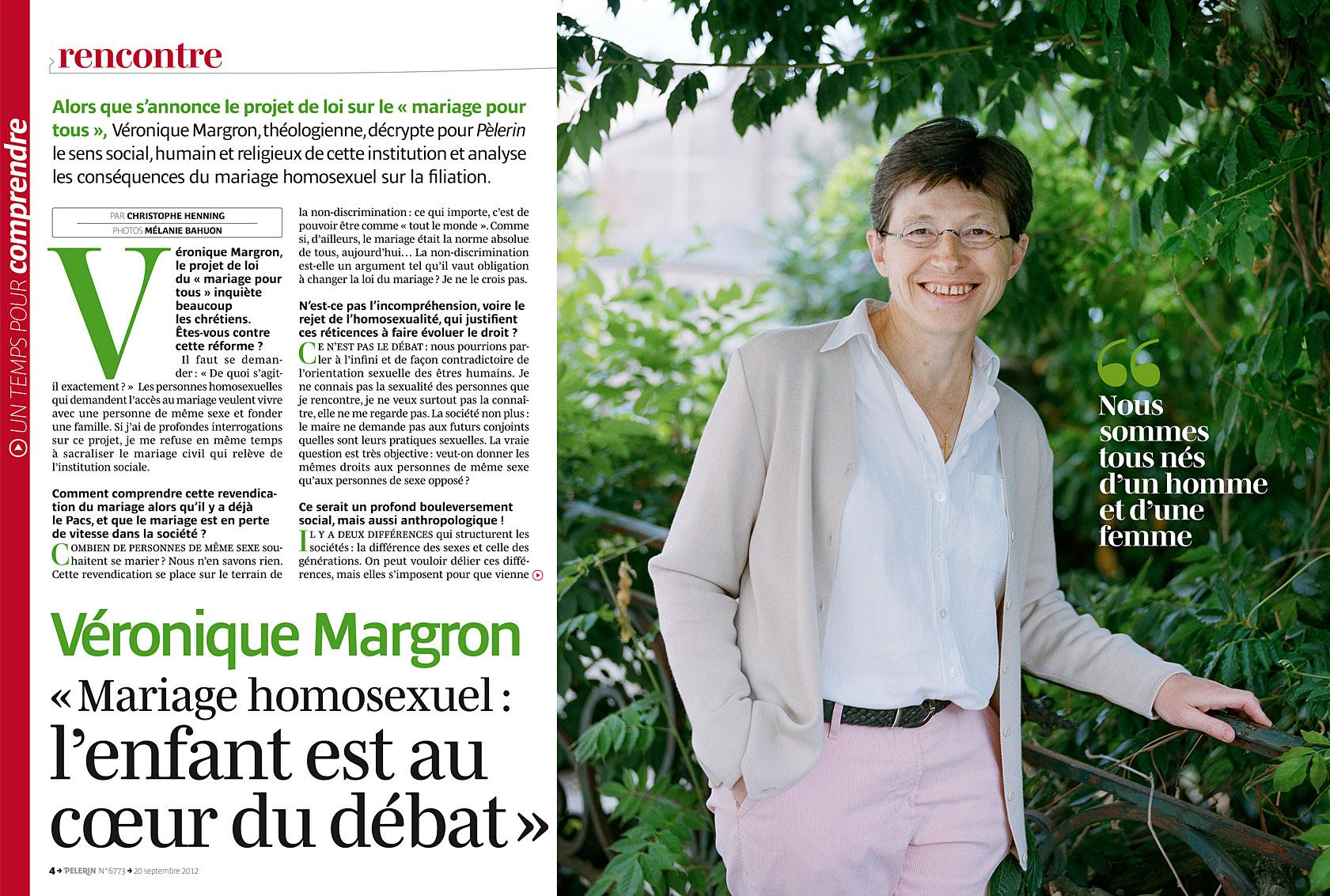 Véronique Margron, Pèlerin du 20 septembre 2012.