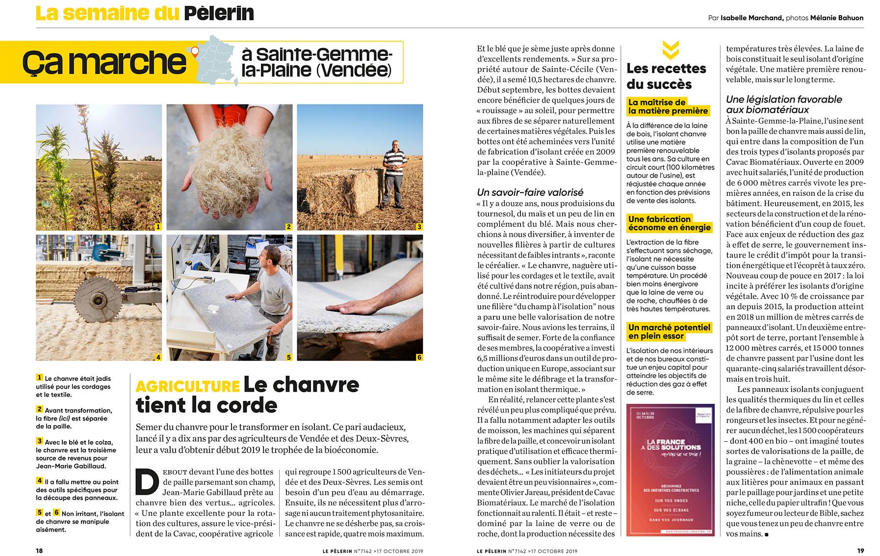 La culture du chanvre, Pèlerin du 17 octobre 2019
