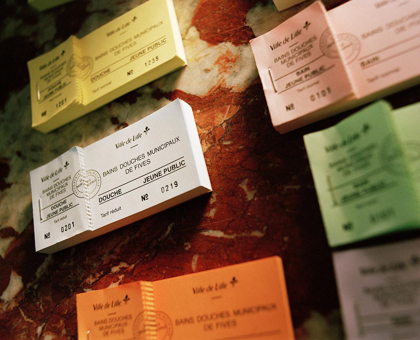 Tickets d'entrée des bains-douches municipaux Fives, Lille.