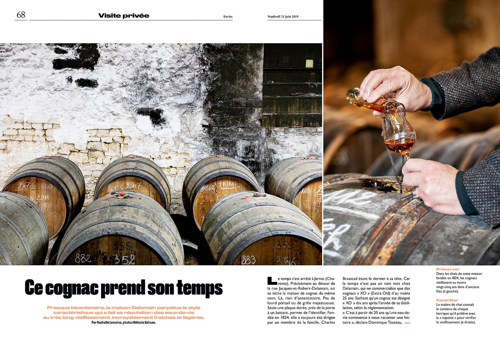 Le Parisien Week-end du 21 juin 2019. Visite privée de la maison de cognac Delamain. Article Rachelle Lemoine.