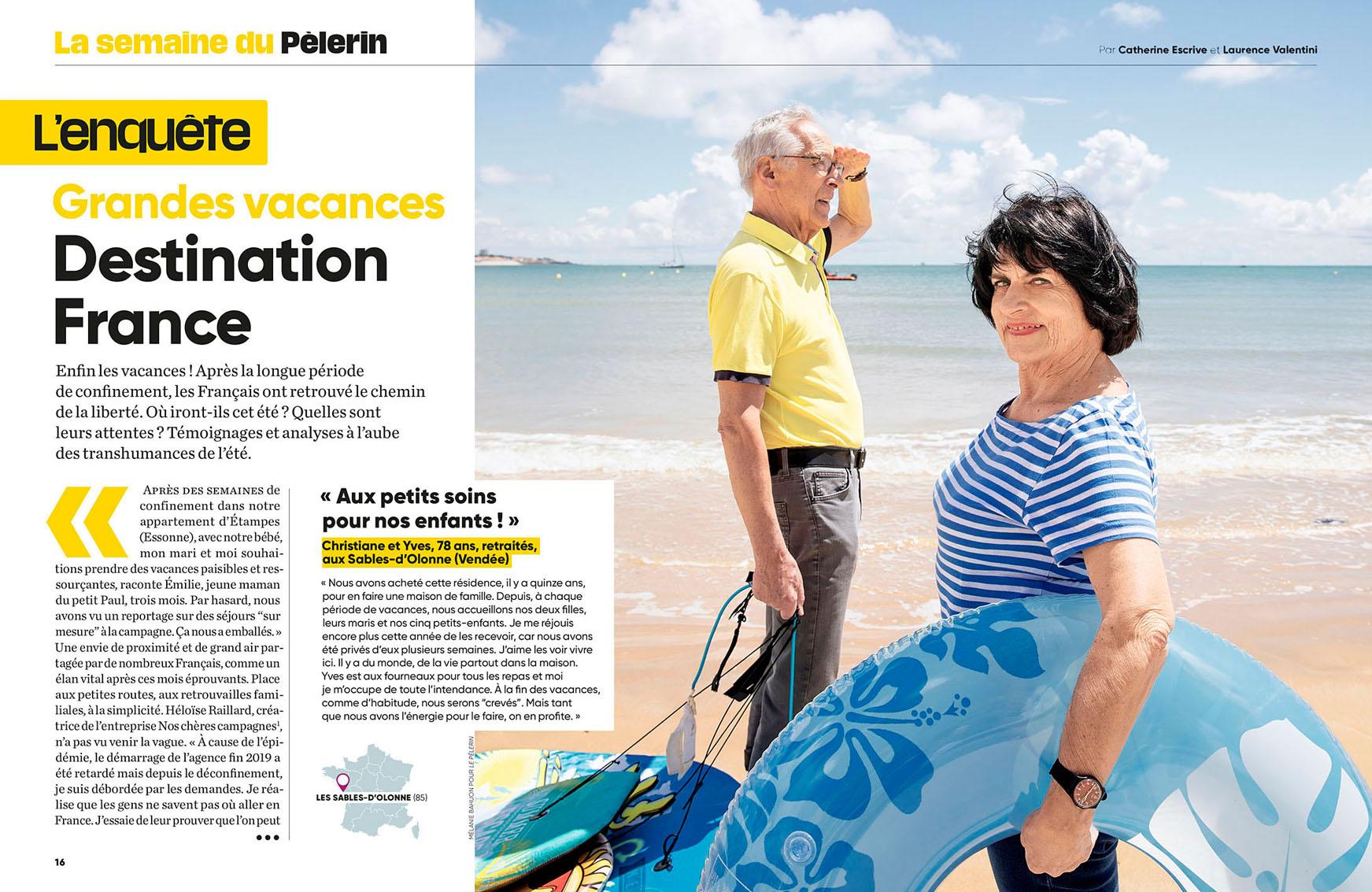 Christiane et Yves sur la grande plage des Sables d'Olonne. Pèlerin du 2 juillet